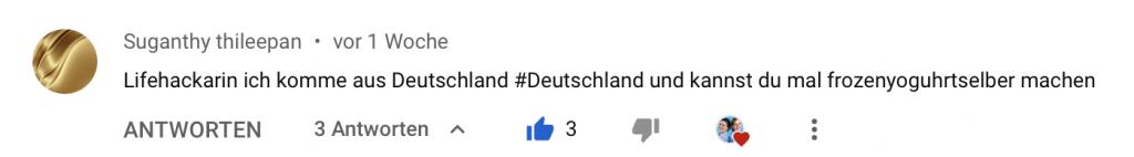 Screenshot eines Kommentars auf YouTube